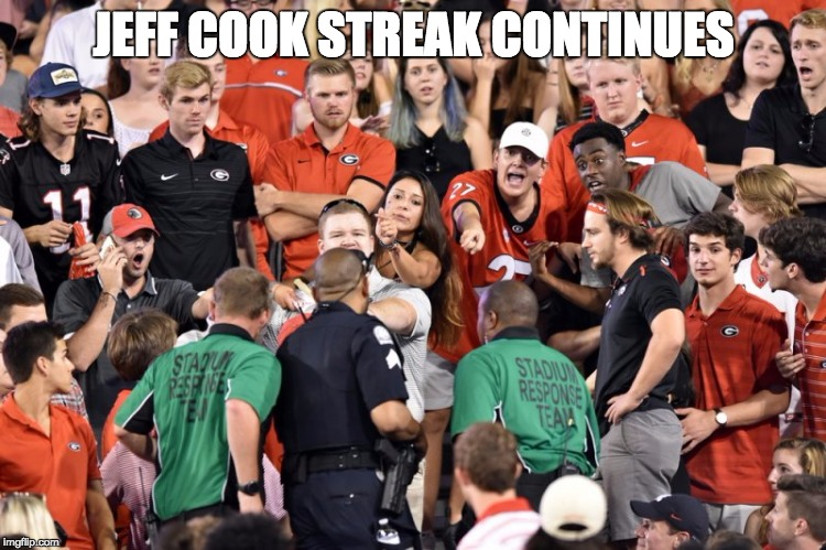 JEFF COOK STREAK CONTINUES | image tagged in bulldogs,georgia | made w/ Imgflip meme maker