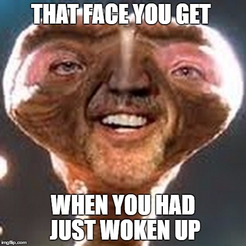THAT FACE YOU GET WHEN YOU HAD JUST WOKEN UP | image tagged in funny,stupid,alien,bed,woke,sleepy | made w/ Imgflip meme maker