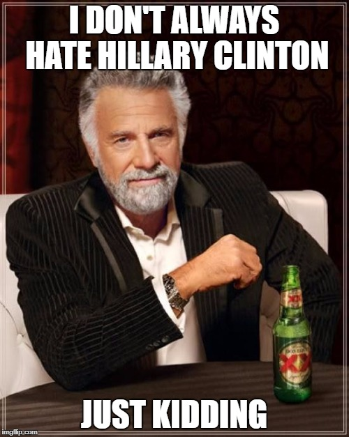 That and her pathetic book | I DON'T ALWAYS HATE HILLARY CLINTON JUST KIDDING | image tagged in memes,the most interesting man in the world | made w/ Imgflip meme maker