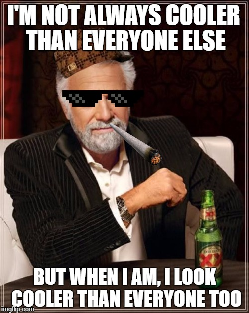 The Most Interesting Man In The World Meme | I'M NOT ALWAYS COOLER THAN EVERYONE ELSE BUT WHEN I AM, I LOOK COOLER THAN EVERYONE TOO | image tagged in memes,the most interesting man in the world,scumbag | made w/ Imgflip meme maker