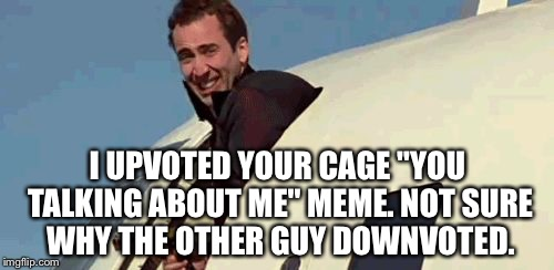 "I UPVOTED YOUR CAGE ""YOU TALKING ABOUT ME"" MEME. NOT SURE WHY THE OTHER GUY DOWNVOTED. 
