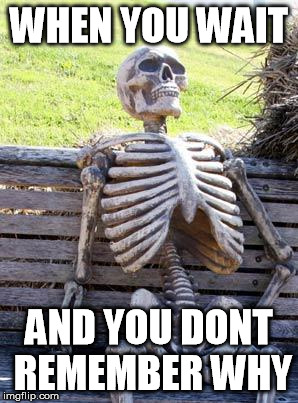 Waiting Skeleton Meme | WHEN YOU WAIT AND YOU DONT REMEMBER WHY | image tagged in memes,waiting skeleton | made w/ Imgflip meme maker