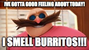 IVE GOTTA GOOD FEELING ABOUT TODAY! I SMELL BURRITOS!!! | image tagged in eggmans gotta feeling | made w/ Imgflip meme maker