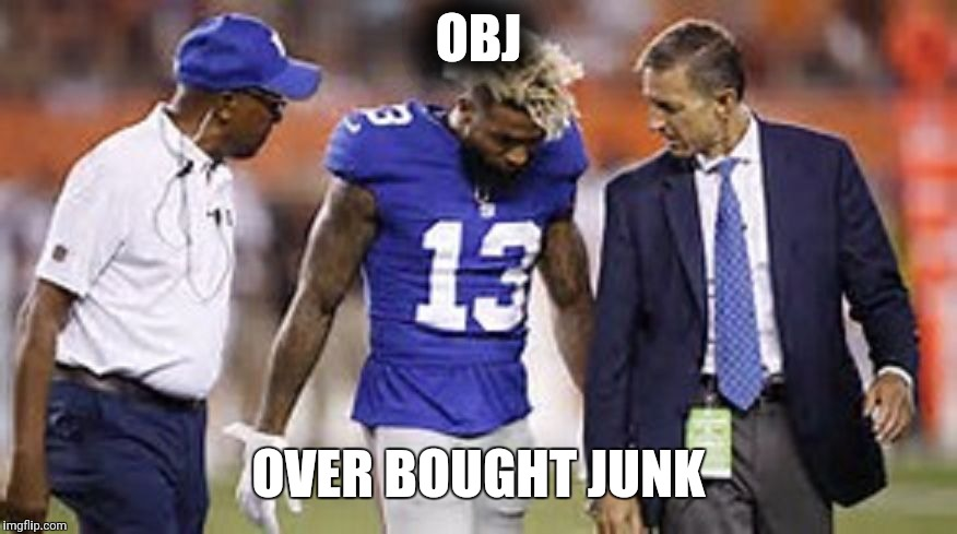 OBJ OVER BOUGHT JUNK | image tagged in odell beckham jr | made w/ Imgflip meme maker