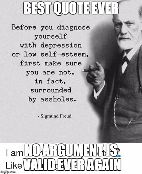 Meme 6 | BEST QUOTE EVER NO ARGUMENT IS VALID EVER AGAIN | image tagged in inspirational,memes | made w/ Imgflip meme maker