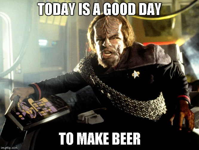 TODAY IS A GOOD DAY TO MAKE BEER | image tagged in beer,klingon | made w/ Imgflip meme maker