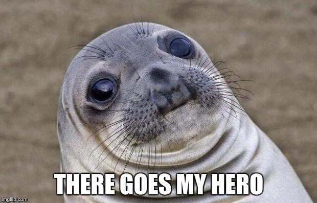 Awkward Moment Sealion Meme | THERE GOES MY HERO | image tagged in memes,awkward moment sealion | made w/ Imgflip meme maker