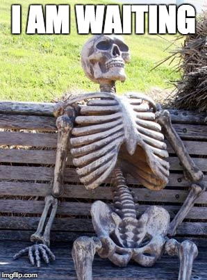 Waiting Skeleton Meme | I AM WAITING | image tagged in memes,waiting skeleton | made w/ Imgflip meme maker