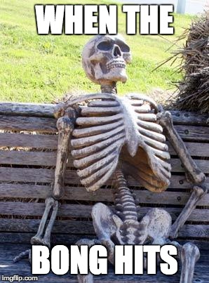 Waiting Skeleton Meme | WHEN THE BONG HITS | image tagged in memes,waiting skeleton | made w/ Imgflip meme maker