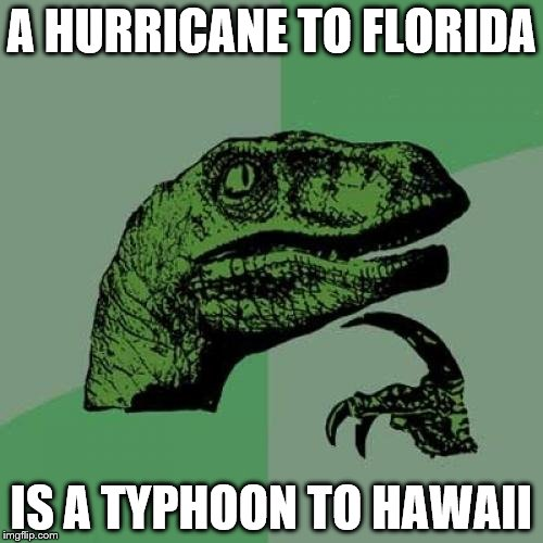 Philosoraptor Meme | A HURRICANE TO FLORIDA IS A TYPHOON TO HAWAII | image tagged in memes,philosoraptor | made w/ Imgflip meme maker