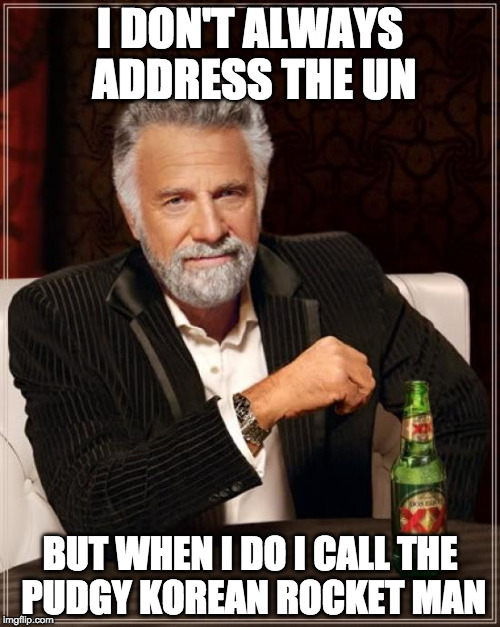 The Most Interesting Man In The World Meme | I DON'T ALWAYS ADDRESS THE UN BUT WHEN I DO I CALL THE PUDGY KOREAN ROCKET MAN | image tagged in memes,the most interesting man in the world | made w/ Imgflip meme maker