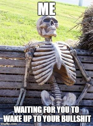 Waiting Skeleton Meme | ME WAITING FOR YOU TO WAKE UP TO YOUR BULLSHIT | image tagged in memes,waiting skeleton | made w/ Imgflip meme maker
