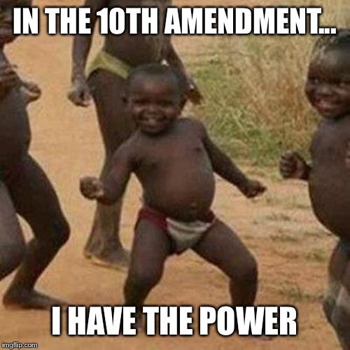 Third World Success Kid | IN THE 10TH AMENDMENT... I HAVE THE POWER | image tagged in memes,third world success kid | made w/ Imgflip meme maker