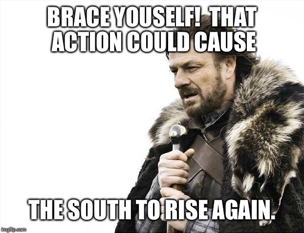 Brace Yourselves X is Coming Meme | BRACE YOUSELF!  THAT ACTION COULD CAUSE THE SOUTH TO RISE AGAIN. | image tagged in memes,brace yourselves x is coming | made w/ Imgflip meme maker