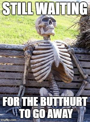 Waiting Skeleton Meme | STILL WAITING FOR THE BUTTHURT TO GO AWAY | image tagged in memes,waiting skeleton | made w/ Imgflip meme maker
