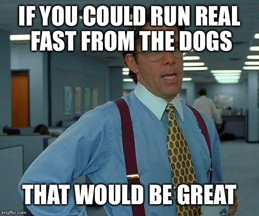 That Would Be Great Meme | IF YOU COULD RUN REAL FAST FROM THE DOGS THAT WOULD BE GREAT | image tagged in memes,that would be great | made w/ Imgflip meme maker