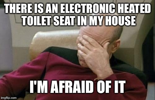 Captain Picard Facepalm Meme | THERE IS AN ELECTRONIC HEATED TOILET SEAT IN MY HOUSE I'M AFRAID OF IT | image tagged in memes,captain picard facepalm | made w/ Imgflip meme maker