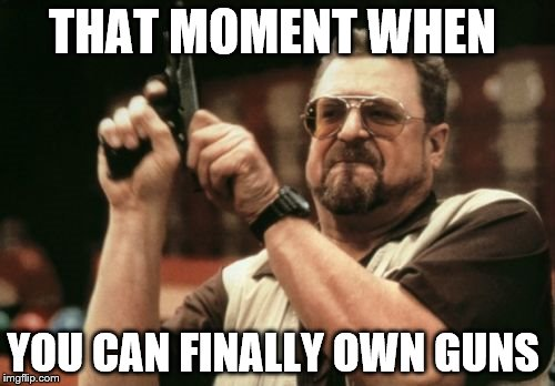 Am I The Only One Around Here | THAT MOMENT WHEN YOU CAN FINALLY OWN GUNS | image tagged in memes,am i the only one around here | made w/ Imgflip meme maker