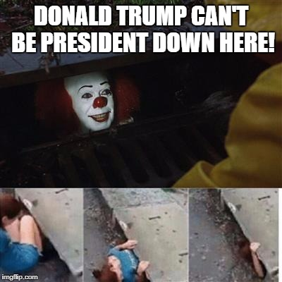 Penny wise in sewer | DONALD TRUMP CAN'T BE PRESIDENT DOWN HERE! | image tagged in penny wise in sewer | made w/ Imgflip meme maker