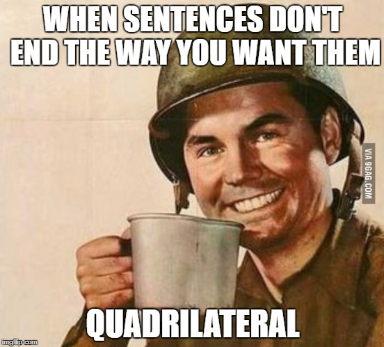 WHEN SENTENCES DON'T END THE WAY YOU WANT THEM QUADRILATERAL | image tagged in sergeant coffee | made w/ Imgflip meme maker