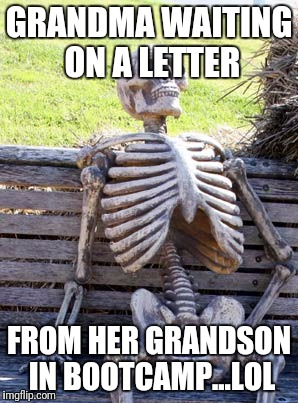 GRANDMA WAITING ON A LETTER FROM HER GRANDSON IN BOOTCAMP...LOL | image tagged in the waiting skeleton | made w/ Imgflip meme maker