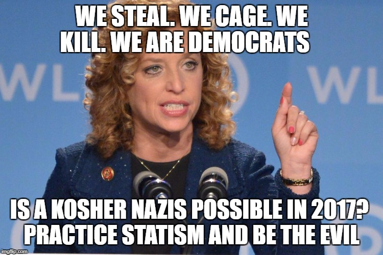 Debbie Wasserman Schultz | WE STEAL. WE CAGE. WE KILL. WE ARE DEMOCRATS IS A KOSHER NAZIS POSSIBLE IN 2017?  PRACTICE STATISM AND BE THE EVIL | image tagged in debbie wasserman schultz | made w/ Imgflip meme maker