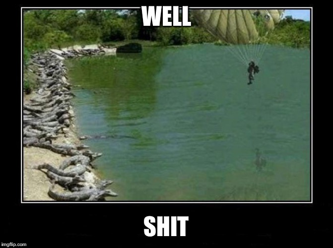 Alligator Farm Paratrooper | WELL SHIT | image tagged in alligator farm paratrooper | made w/ Imgflip meme maker