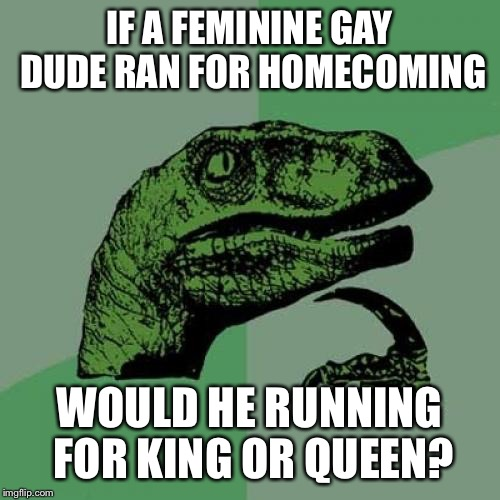 Philosoraptor Meme | IF A FEMININE GAY DUDE RAN FOR HOMECOMING WOULD HE RUNNING FOR KING OR QUEEN? | image tagged in memes,philosoraptor | made w/ Imgflip meme maker