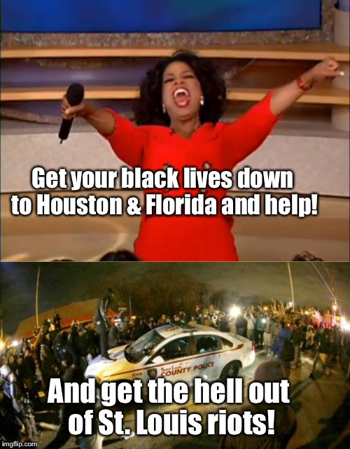 Get your black lives down to Houston & Florida and help! And get the hell out of St. Louis riots! | made w/ Imgflip meme maker