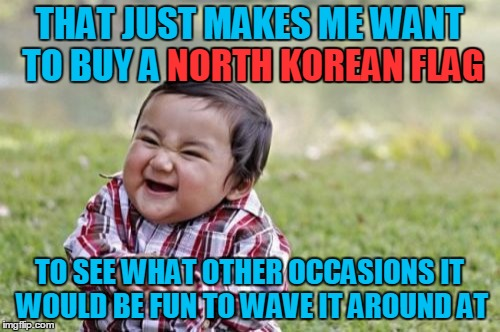 Evil Toddler Meme | THAT JUST MAKES ME WANT TO BUY A NORTH KOREAN FLAG TO SEE WHAT OTHER OCCASIONS IT WOULD BE FUN TO WAVE IT AROUND AT NORTH KOREAN FLAG | image tagged in memes,evil toddler | made w/ Imgflip meme maker
