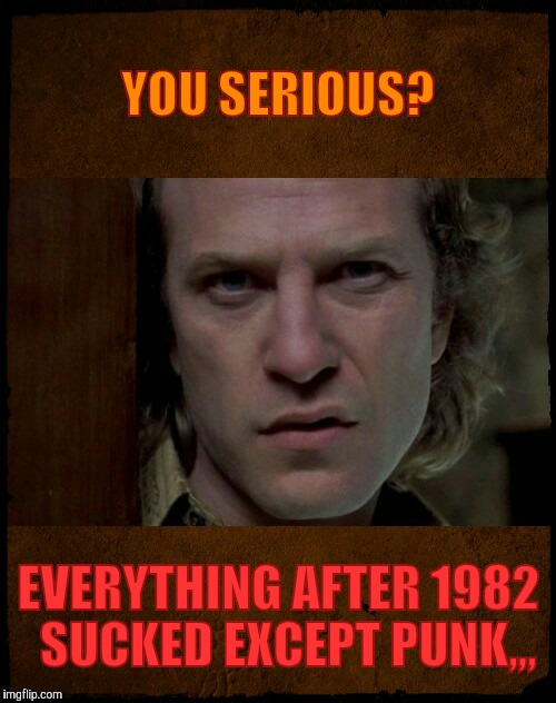 Buffalo Bill, Are you serious?,,, | YOU SERIOUS? EVERYTHING AFTER 1982  SUCKED EXCEPT PUNK,,, | image tagged in buffalo bill,are you serious | made w/ Imgflip meme maker