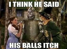 Oh my. | image tagged in scarecrow wizard balls,itchy testes,dorothy toto,oz,funny,memes | made w/ Imgflip meme maker