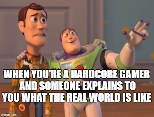 X, X Everywhere Meme | WHEN YOU'RE A HARDCORE GAMER AND SOMEONE EXPLAINS TO YOU WHAT THE REAL WORLD IS LIKE | image tagged in memes,x x everywhere | made w/ Imgflip meme maker