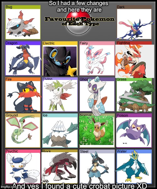 Favorite Pokemon of each type | So I had a few changes and here they are And yes I found a cute crobat picture XD | image tagged in favorite pokemon of each type | made w/ Imgflip meme maker