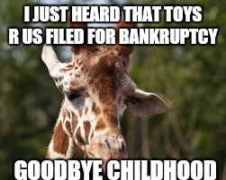 I JUST HEARD THAT TOYS R US FILED FOR BANKRUPTCY GOODBYE CHILDHOOD | image tagged in sad giraffe | made w/ Imgflip meme maker