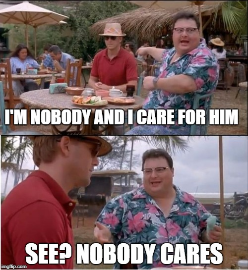 See Nobody Cares Meme | I'M NOBODY AND I CARE FOR HIM SEE? NOBODY CARES | image tagged in memes,see nobody cares | made w/ Imgflip meme maker