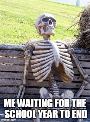Waiting Skeleton Meme | ME WAITING FOR THE SCHOOL YEAR TO END | image tagged in memes,waiting skeleton | made w/ Imgflip meme maker