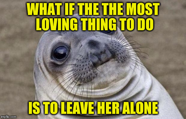 Awkward Moment Sealion Meme | WHAT IF THE THE MOST LOVING THING TO DO IS TO LEAVE HER ALONE | image tagged in memes,awkward moment sealion | made w/ Imgflip meme maker