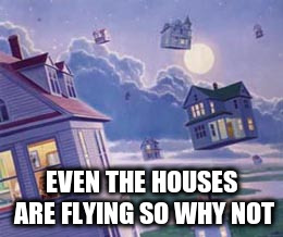 EVEN THE HOUSES ARE FLYING SO WHY NOT | made w/ Imgflip meme maker