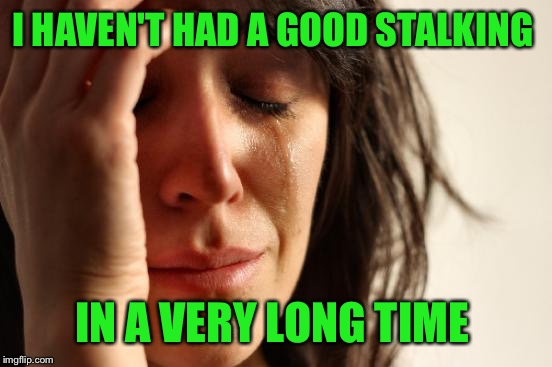 First World Problems Meme | I HAVEN'T HAD A GOOD STALKING IN A VERY LONG TIME | image tagged in memes,first world problems | made w/ Imgflip meme maker