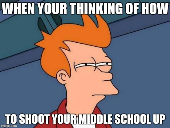 Futurama Fry Meme | WHEN YOUR THINKING OF HOW TO SHOOT YOUR MIDDLE SCHOOL UP | image tagged in memes,futurama fry | made w/ Imgflip meme maker