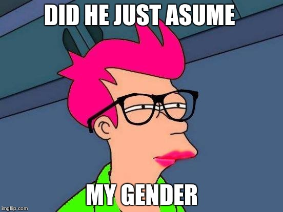 Feminist Fry | DID HE JUST ASUME MY GENDER | image tagged in feminist fry | made w/ Imgflip meme maker