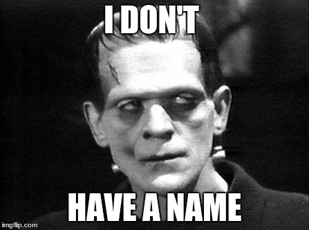 frankenstein | I DON'T HAVE A NAME | image tagged in frankenstein | made w/ Imgflip meme maker