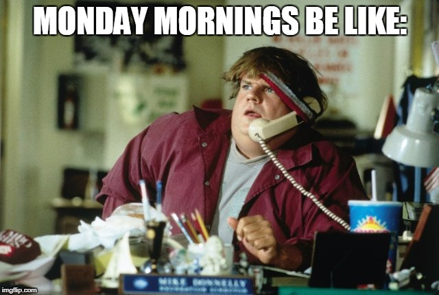 Image tagged in chris farley,monday,monday mornings,work ...