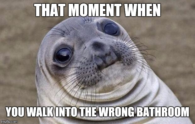 Awkward Moment Sealion Meme | THAT MOMENT WHEN YOU WALK INTO THE WRONG BATHROOM | image tagged in memes,awkward moment sealion | made w/ Imgflip meme maker