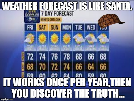 The legend of weather forecast | WEATHER FORECAST IS LIKE SANTA, IT WORKS ONCE PER YEAR,THEN YOU DISCOVER THE TRUTH... | image tagged in weather | made w/ Imgflip meme maker