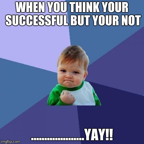 Success Kid Meme | WHEN YOU THINK YOUR SUCCESSFUL BUT YOUR NOT ....................YAY!! | image tagged in memes,success kid | made w/ Imgflip meme maker