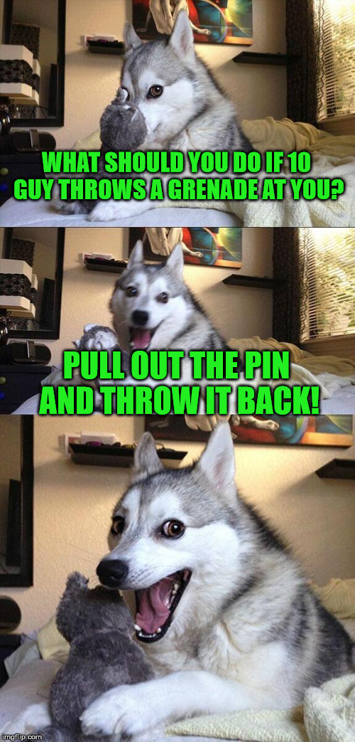 He'd never make the grade in the army | WHAT SHOULD YOU DO IF 10 GUY THROWS A GRENADE AT YOU? PULL OUT THE PIN AND THROW IT BACK! | image tagged in memes,bad pun dog,10 guy,grenade,army | made w/ Imgflip meme maker