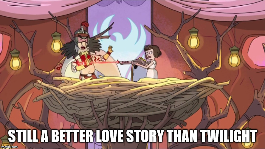 STILL A BETTER LOVE STORY THAN TWILIGHT | image tagged in birdpersondeservedit | made w/ Imgflip meme maker