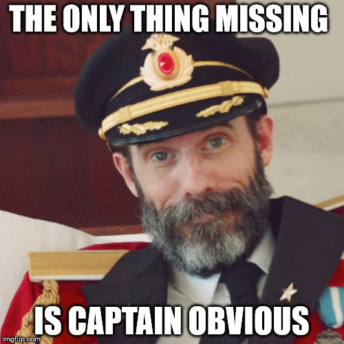 THE ONLY THING MISSING IS CAPTAIN OBVIOUS | made w/ Imgflip meme maker